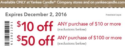 Yankee Candle Printable Coupon to Save $10 Off $10 Coupon - Exp. December 2, 2016