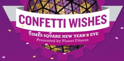 Planet Fitness Free Confetti Wishes on Times Square New Years Eve