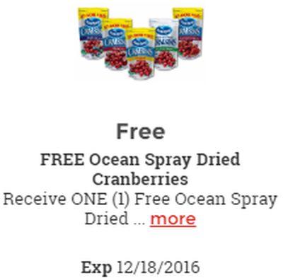 Kroger Free Ocean Spray Dried Cranberries - Exp. December 18, 2016