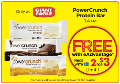 Giant Eagle end vantage Club Free PowerCrunch Protein Bar - US