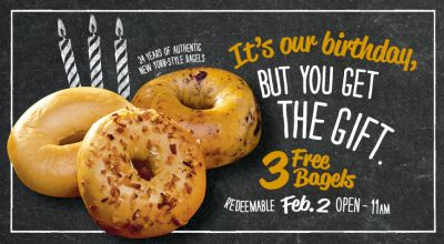 Bruegger's Bagels 3 Free Bagels Only on February 2, 2017 from Open to 11am - US