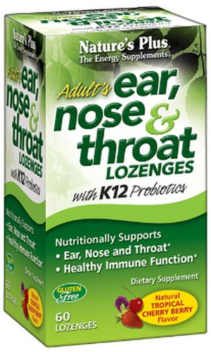 Natures Plus Free Adult's Ear, Nose & Throat Lozenges with K12 Probiotics - Tropical Cherry Berry Flavor - US