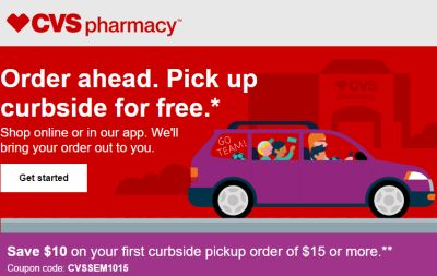 CVS Save $10 Off $10 Order with Curbside Pickup Promo Code: CVSCURBAPRIL