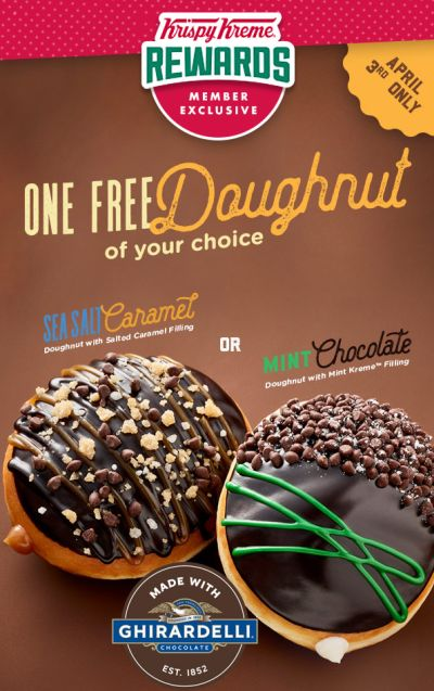 Krispy Kreme Rewards Free Fancy Doughnut for Members on Monday, April 3, 2017