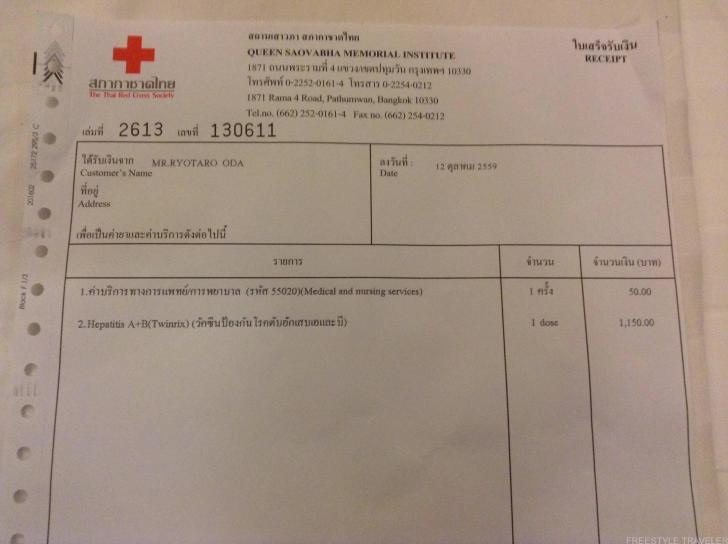 スネークファームのTwinrix(A型、B型肝炎の混合)の値段