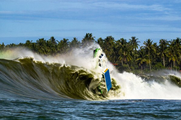 Indo Mega swell defining moment when mans possesions meets mother nature's blessing. Photo: Keoki