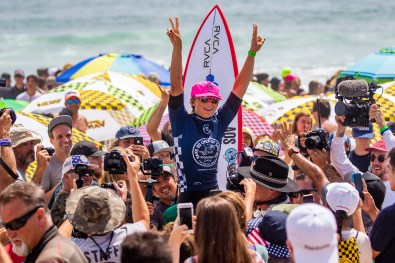 HUNTINGTON BEACH, UNITED STATES - August 4: Sage Erickson of the USA is the winner of the 2019 VANS US Open of Surfing after winning the final at Huntington Beach on August 4, 2019 in CA, USA.(Photo by Kenny Morris/WSL via Getty Images)