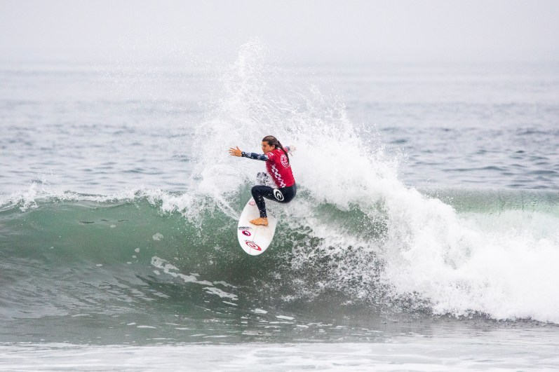 HUNTINGTON BEACH, UNITED STATES - AUGUST 4: Brisa Hennessy of Costa Rica advances to the Semifinals of the 2019 VANS US Open of Surfing after winning Quarterfinal Heat 2 at Huntington Beach on August 4, 2019 in CA, USA.(Photo by Jenny Herron/WSL via Getty Images)