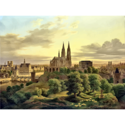 Drawing of medieval town panorama in color Free SVG