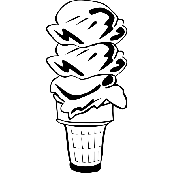 Vector image of three ice cream scoops in a half-cone