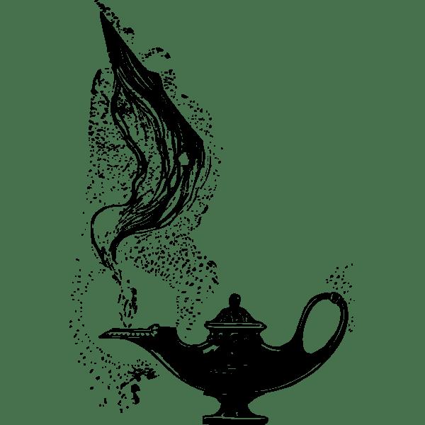 Genie Lamp Drawing : genie, drawing, Genie