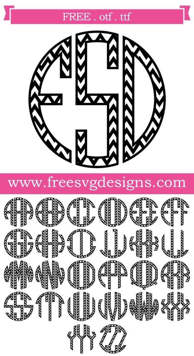 Chevron Round Monogram Font SVG