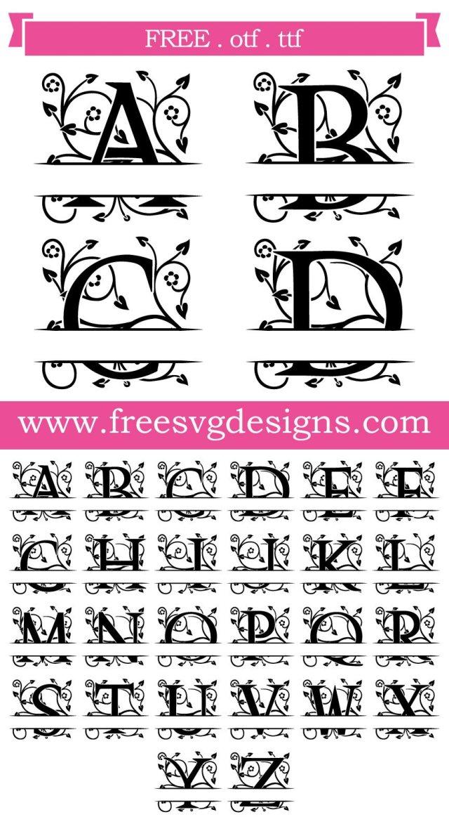 Ornate Floral Split Monogram Font SVG