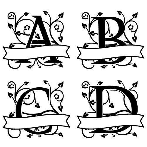 Ornate Floral Banner Monogram Font SVG