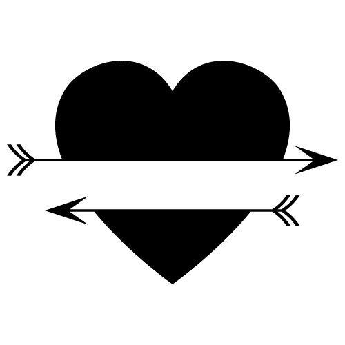 Download Free SVG Files   SVG, PNG, DXF, EPS   Split Love Heart Arrows