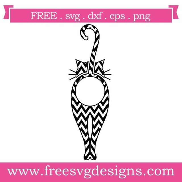 Free cat monogram frame cut files at www.freesvgdesigns.com. FREE downloads includes SVG, EPS, PNG and DXF files for personal cutting projects. Free vector / printable / free svg images for cricut