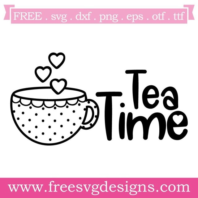 Free tea time cut files at www.freesvgdesigns.com. Our FREE downloads includes OTF, TTF, SVG, PNG and DXF files for personal cutting projects. Free vector / printable / free svg images for cricut #freesvg #diycrafts #svg #cricut #silhouettecameo #svgfile