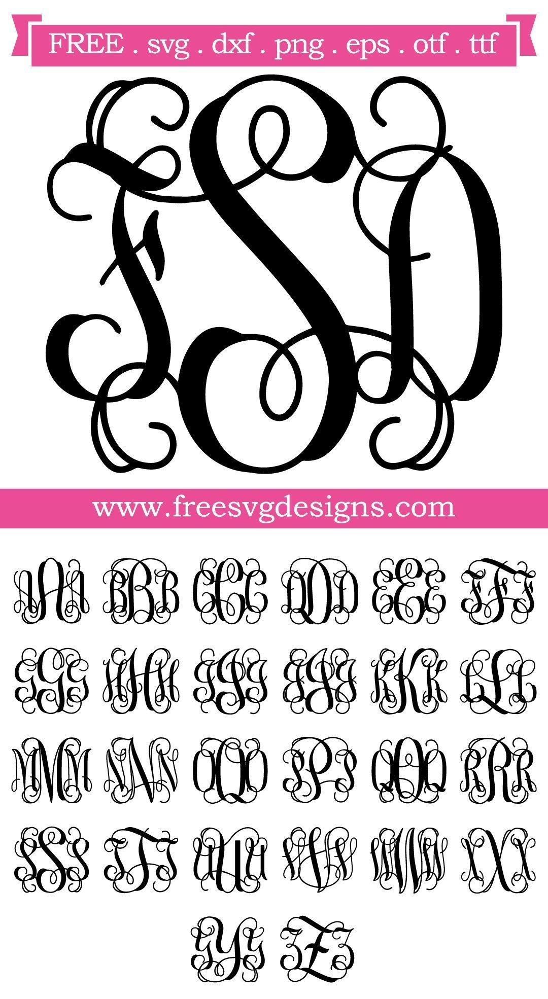 Download Free SVG Files | SVG, PNG, DXF, EPS | Script Vine Monogram ...