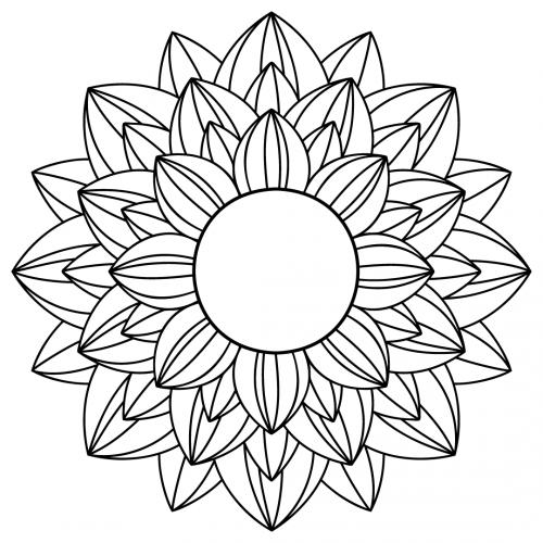 Download Free SVG Files   SVG, PNG, DXF, EPS   Sunflower Mandala