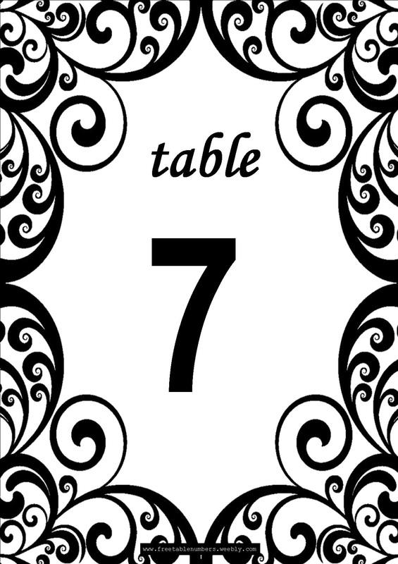 Free Swirls Printable Diy Table Numbers  Free Table Numbers