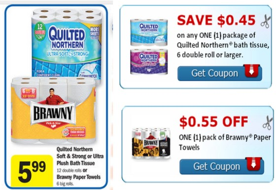 MEIJER: Cheap Brawny And Quilted Northern Bath Tissue