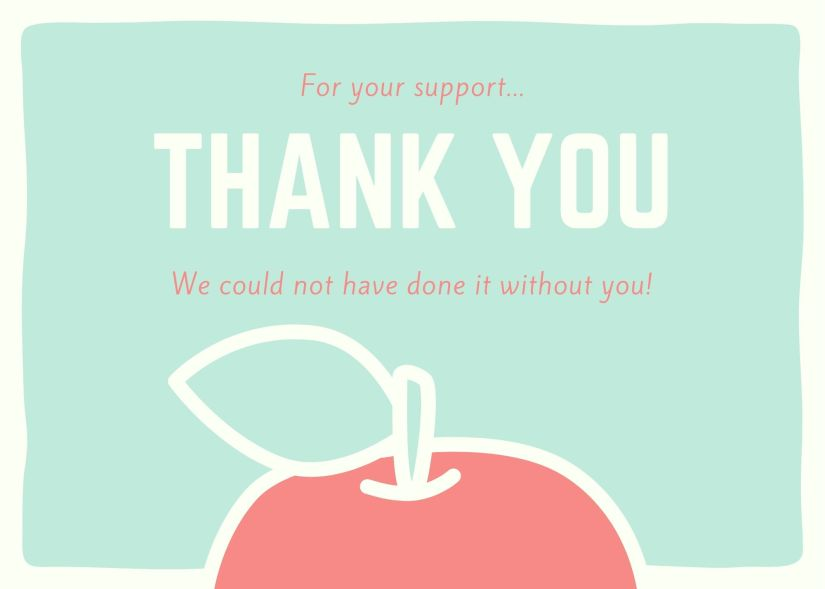 Donation thank you card with an image of a red apple at the bottom.