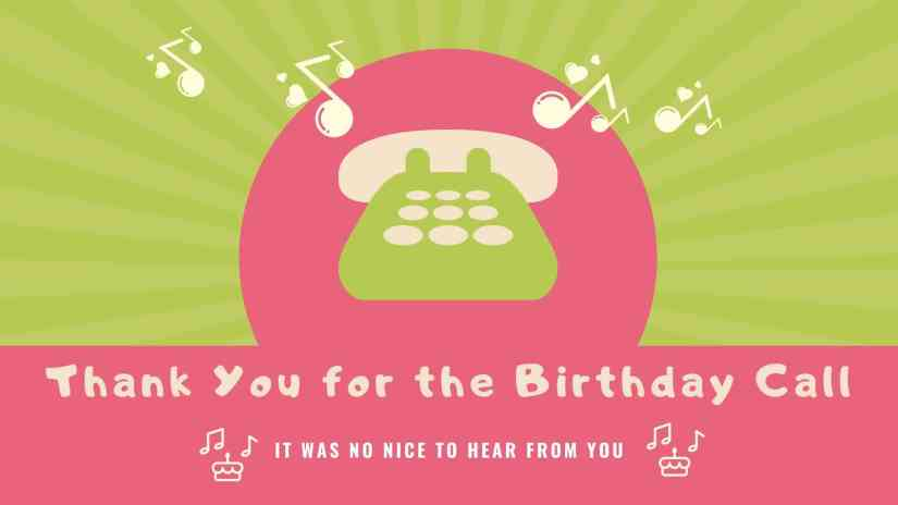 """Card showing a phone ringing. The card says """"Thank you for the birthday call. It was nice to hear from you"""""""