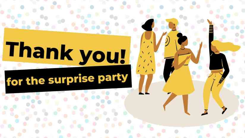"""Card with a confetti background and 4 people dancing inside a circle. The card says """"Thank you! for the surprise party"""""""