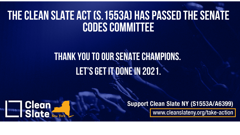 Clean Slate Just Passed Out of Senate Codes! Help Spread the Word