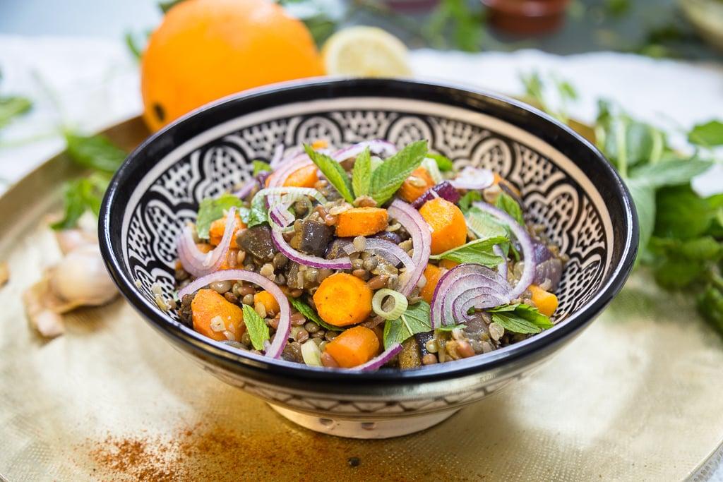 Salade Vegan de Lentilles et Carottes rôties aux épices marocaines