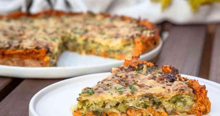 Tarte aux Poireaux Sans Gluten, fond de Patate Douce