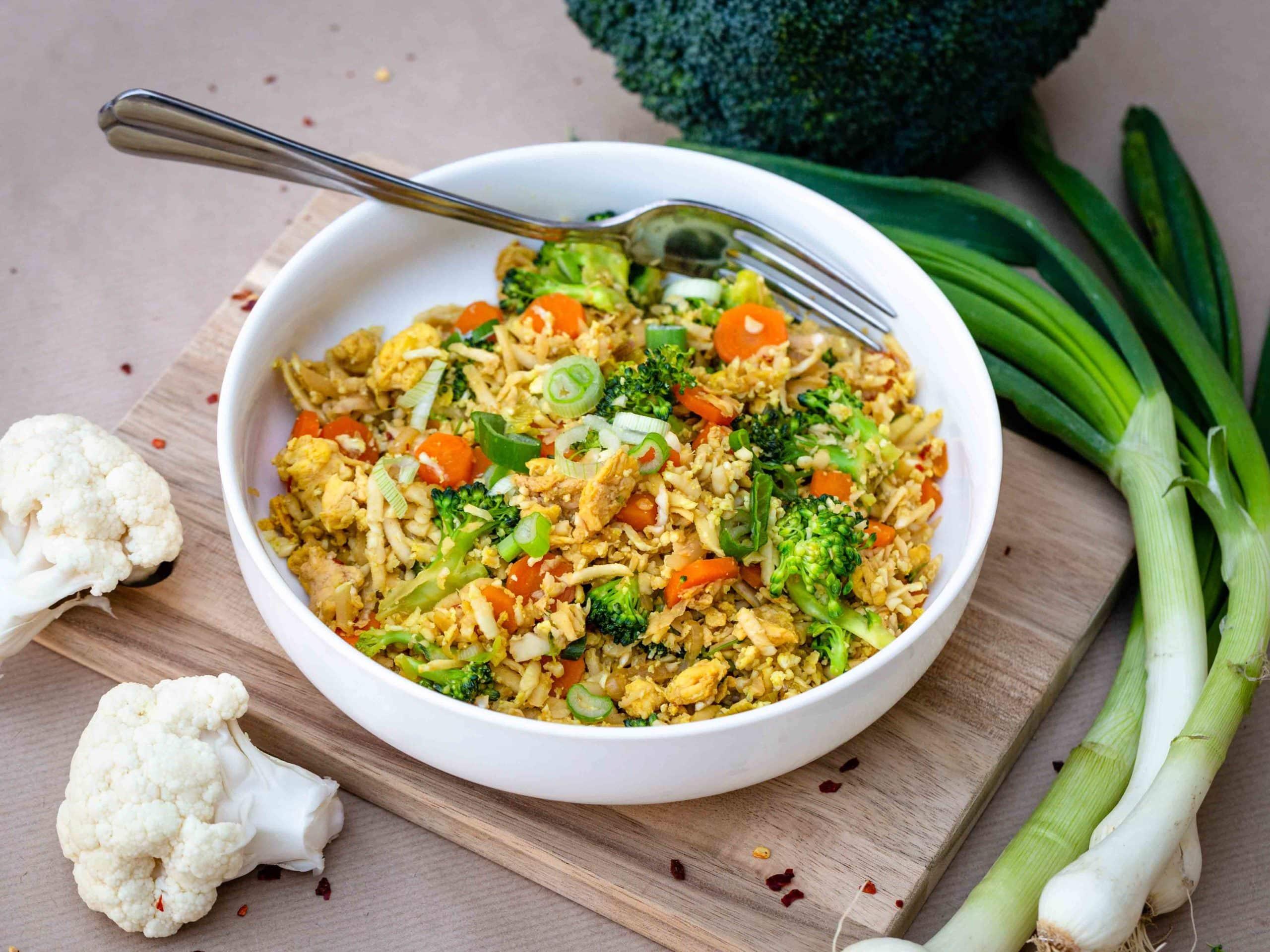 Riz de Chou Fleur sauté aux petits légumes (Sans Gluten)