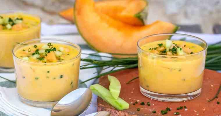 Soupe froide de Melon et Ciboulette (Vegan, Sans Gluten)