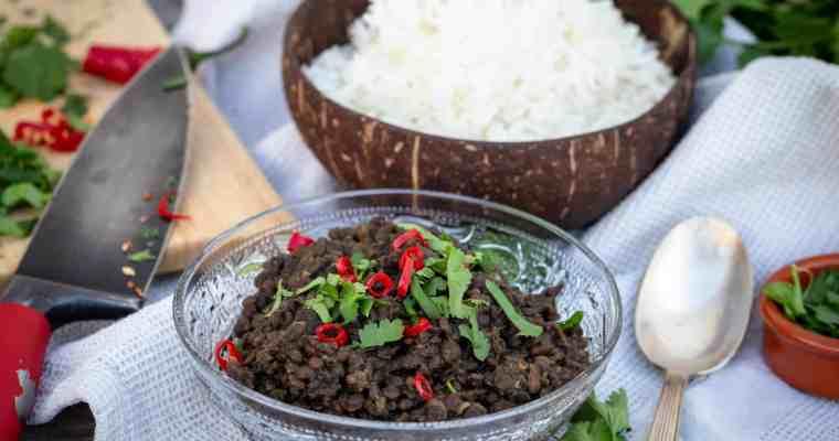 Dhal One-Pot de Lentilles Béluga (Vegan, Sans Gluten, sans matière grasse)