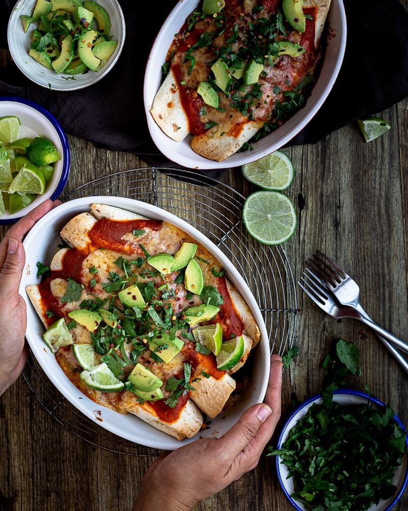 Enchiladas Végétariennes aux Haricots Rouges, Maïs et Poivrons