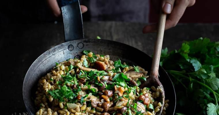 Blesotto aux Champignons Sauvages Vegan (blé façon risotto)