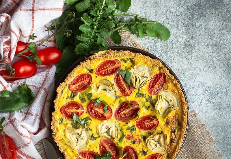 Quiche aux Tomates Cerises, Fond d'Artichauts et Parmesan (Fond de Quinoa)
