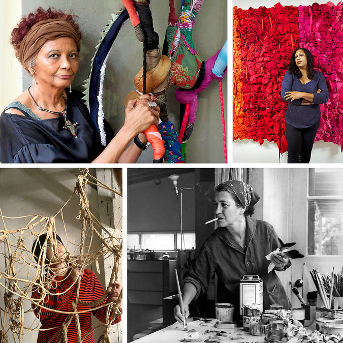 Clockwise from top left: Sonia Gomes; Shinique Smith; Perle Fine; and Eva Hesse. Credit Clockwise from top left: Ana Valadares; Gary Pennock; Maurice Berezov/AE Artworks; Henry Groskinsky/Time & Life Pictures, via Getty Images