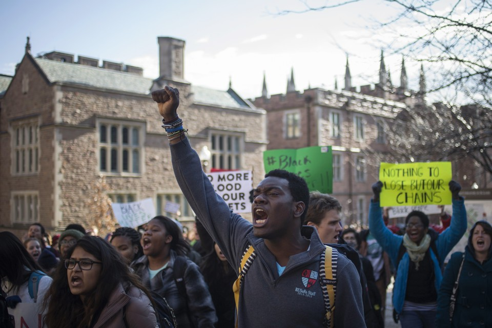 "Student activists during a nationwide ""Hands up, walk out"" protest at Washington University in St. Louis, Missouri. Photo: Reuters/Adrees Latif."