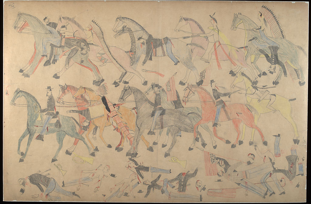 Indians charge Custer's cavalry. (Courtesy National Anthropological Archives/Smithsonian Institution)
