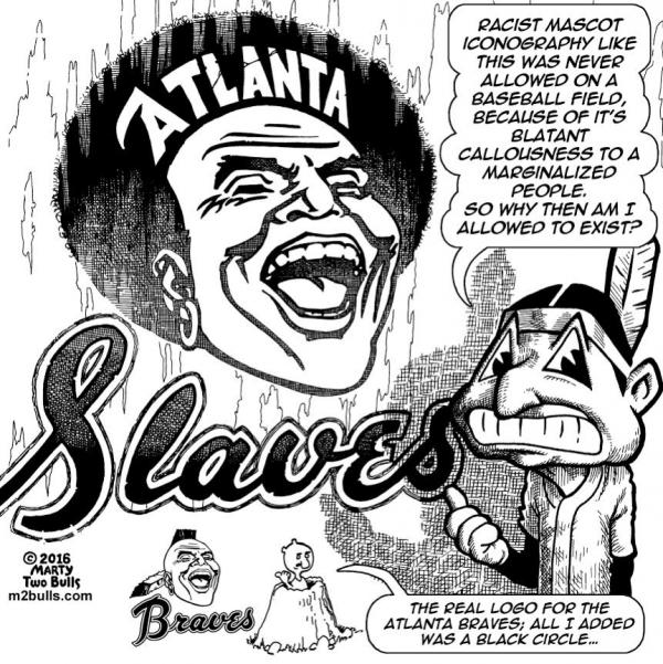 Racism of Baseball Mascots. Marty Two Bulls.