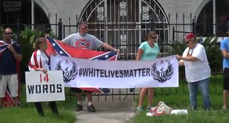 White supremacists protest outside Houston, TX NAACP (Photo: Screen capture).