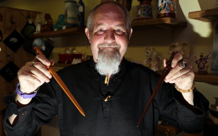 Richard Carter of Mystical Moments who sells magic wands in Huddersfield but has banned Harry Potter fans Credit: Ben Lack Photography Ltd.