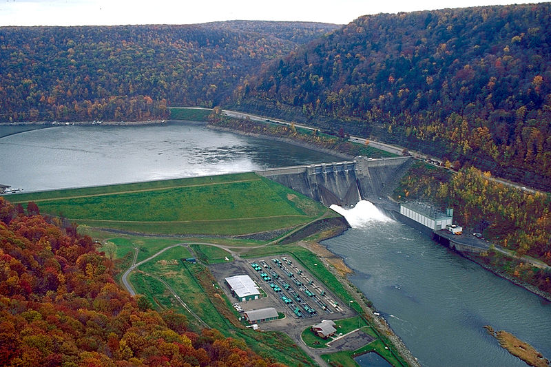 The Kinzua Dam on the Allegheny River in Warren, Pennsylvania was constructed by the U.S. Army Corps of Engineers between 1960 and 1965. The dam provides flood control on the Allegheny and Ohio rivers, and hydroelectric power production. The dam impounds the Allegheny Reservoir, also known as Kinzua Lake. It also misplaced 600 Senecas when built and flooded 10,000 acres of Seneca land. (U.S. Army Corps of Engineers Digital Visual Library)