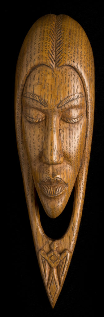 "Willard Stone, ""Modernistic Indian Girl"" (1946), oak wood, 9 x 2 1/2 x 1 3/4 inches (courtesy Gilcrease Museum)."
