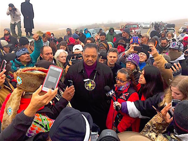 The Rev. Jesse Jackson speaks to water protectors standing against the Dakota Access oil pipeline on Wednesday October 26. (Photo: Courtesy KILI Radio)
