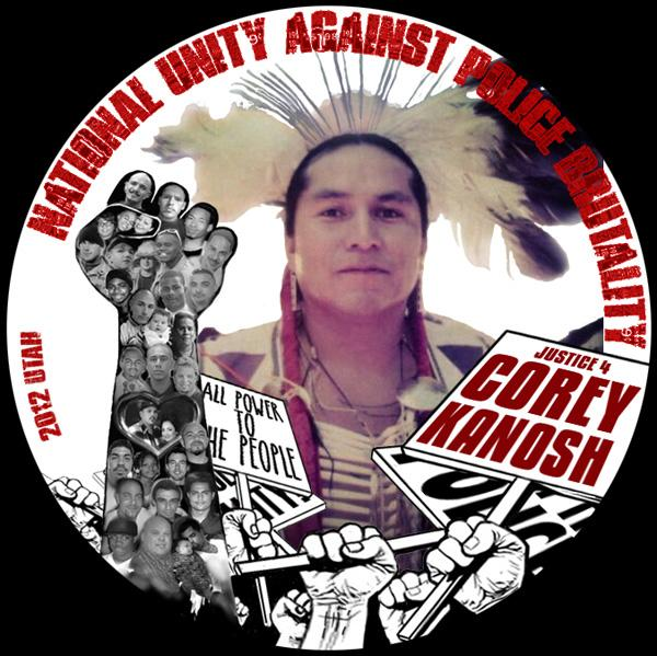 Courtesy Marlee Kanosh Button commemorating the 2012 death of Marlee Kanosh's brother, Corey, created by the advocacy group National Unity Against Police Brutality.