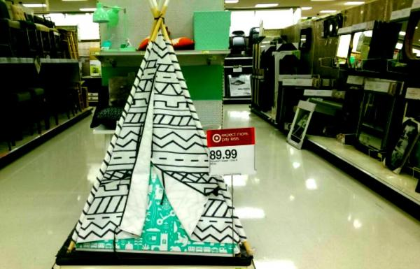 "Just in time for Thanksgiving and Christmas, Target is offering a gray and white ""Southwestern Teepee"" (as described on the Target website) for the low price of $89.99. Daniel Boyko."