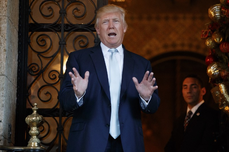 President-elect Donald Trump speaking to reporters at Mar-a-Lago on Wednesday. CREDIT: AP Photo/Evan Vucci.