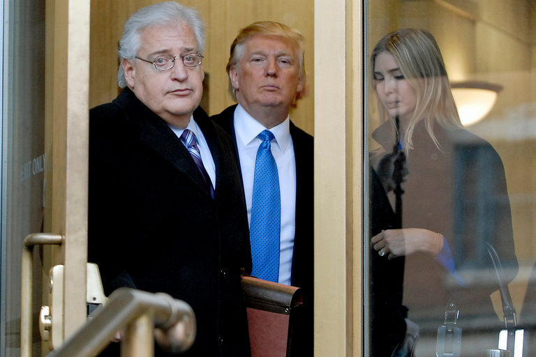 David M. Friedman, left, with Donald J. Trump and his daughter Ivanka in 2010. Mr. Friedman has said he does not believe it would be illegal for Israel to annex the West Bank. Credit Bradley C. Bower/Bloomberg.